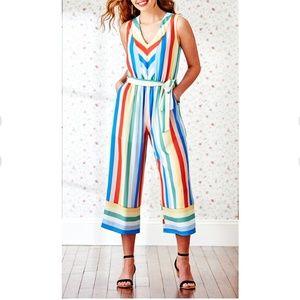 Luxology striped crop jumpsuit